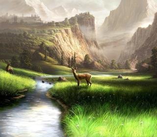 Deer At Mountain River - Obrázkek zdarma pro 208x208