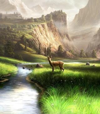 Deer At Mountain River - Obrázkek zdarma pro Nokia C2-00