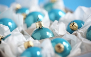 Turquoise Christmas Tree Balls Background for Android, iPhone and iPad