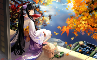 Autumn Kimono Anime Girl Wallpaper for Android, iPhone and iPad