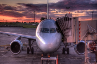 Airplane In Airport Background for Android, iPhone and iPad
