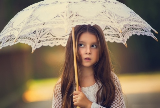 Girl With Lace Umbrella Background for Android, iPhone and iPad