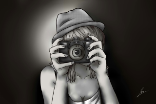 Black And White Drawing Of Girl With Camera Wallpaper for Android, iPhone and iPad