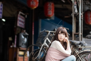 Cute Asian Girl With Bicycle Picture for Android, iPhone and iPad