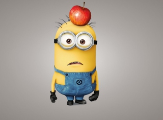 Minion With Apple Background for Android, iPhone and iPad