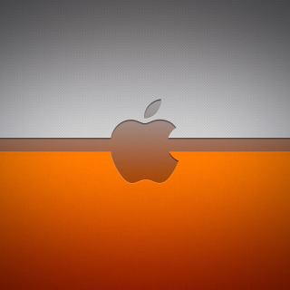 Grey And Orange Apple Logo - Obrázkek zdarma pro iPad 2