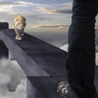 Advertisement with Lion - Obrázkek zdarma pro 208x208
