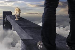 Advertisement with Lion - Obrázkek zdarma pro Samsung Galaxy S4