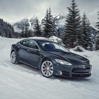 Tesla Model S P85D on Snow - Obrázkek zdarma pro 320x320