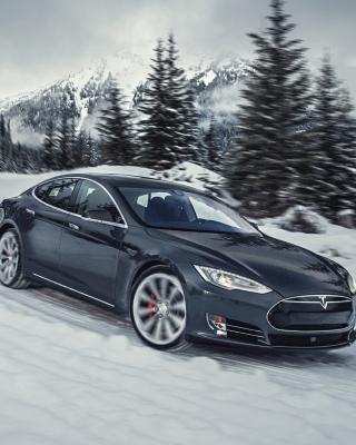 Tesla Model S P85D on Snow - Obrázkek zdarma pro Nokia X3