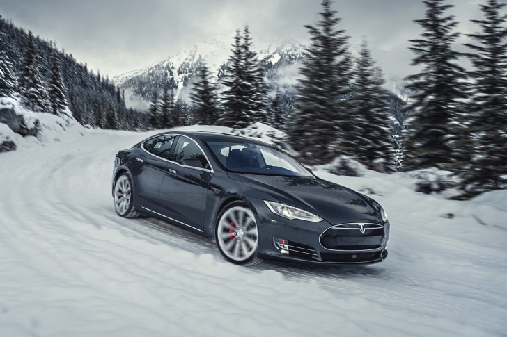 Tesla Model S P85D on Snow wallpaper