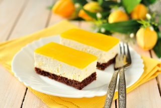 Yellow Souffle Dessert Background for Android, iPhone and iPad