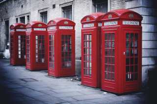 Red English Phone Booths Background for Android, iPhone and iPad