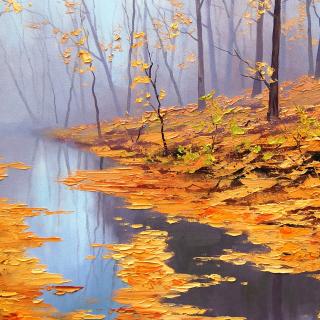 Painting Autumn Pond - Obrázkek zdarma pro iPad mini 2