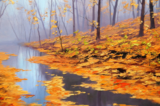 Painting Autumn Pond Wallpaper for Android, iPhone and iPad