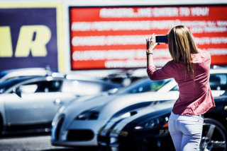 Girl Taking Photo With Her Phone Wallpaper for Android, iPhone and iPad