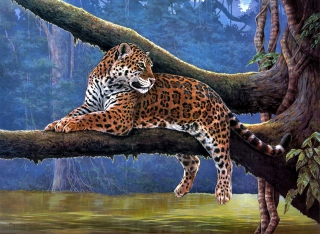 Raymond Reibel Jaguar Painting Picture for Android, iPhone and iPad