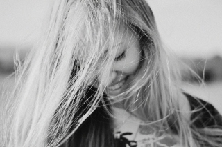 Black And White Portrait Of Blonde Girl Wallpaper for Android, iPhone and iPad