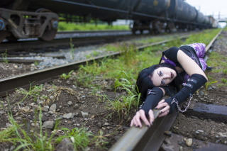 Free Girl On Railroad Picture for Android, iPhone and iPad