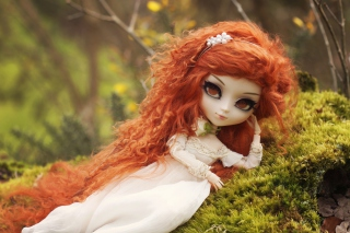 Curly Redhead Doll Background for Android, iPhone and iPad