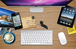 Apple Table with Postcards Wallpaper for Android, iPhone and iPad