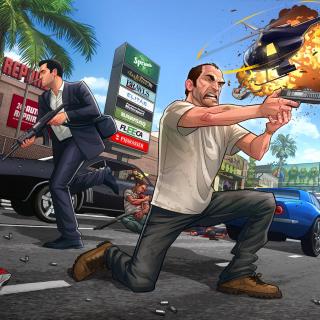 GTA 5 Battle - Obrázkek zdarma pro 1024x1024