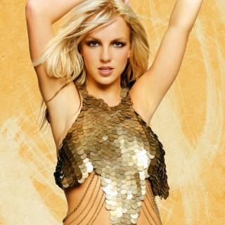 Britney Spears In Golden Dress - Obrázkek zdarma pro 208x208