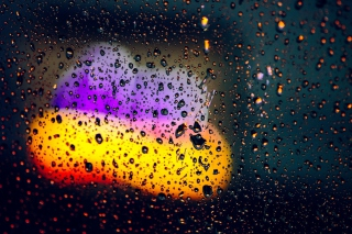 Blurred Drops on Glass Picture for Android, iPhone and iPad