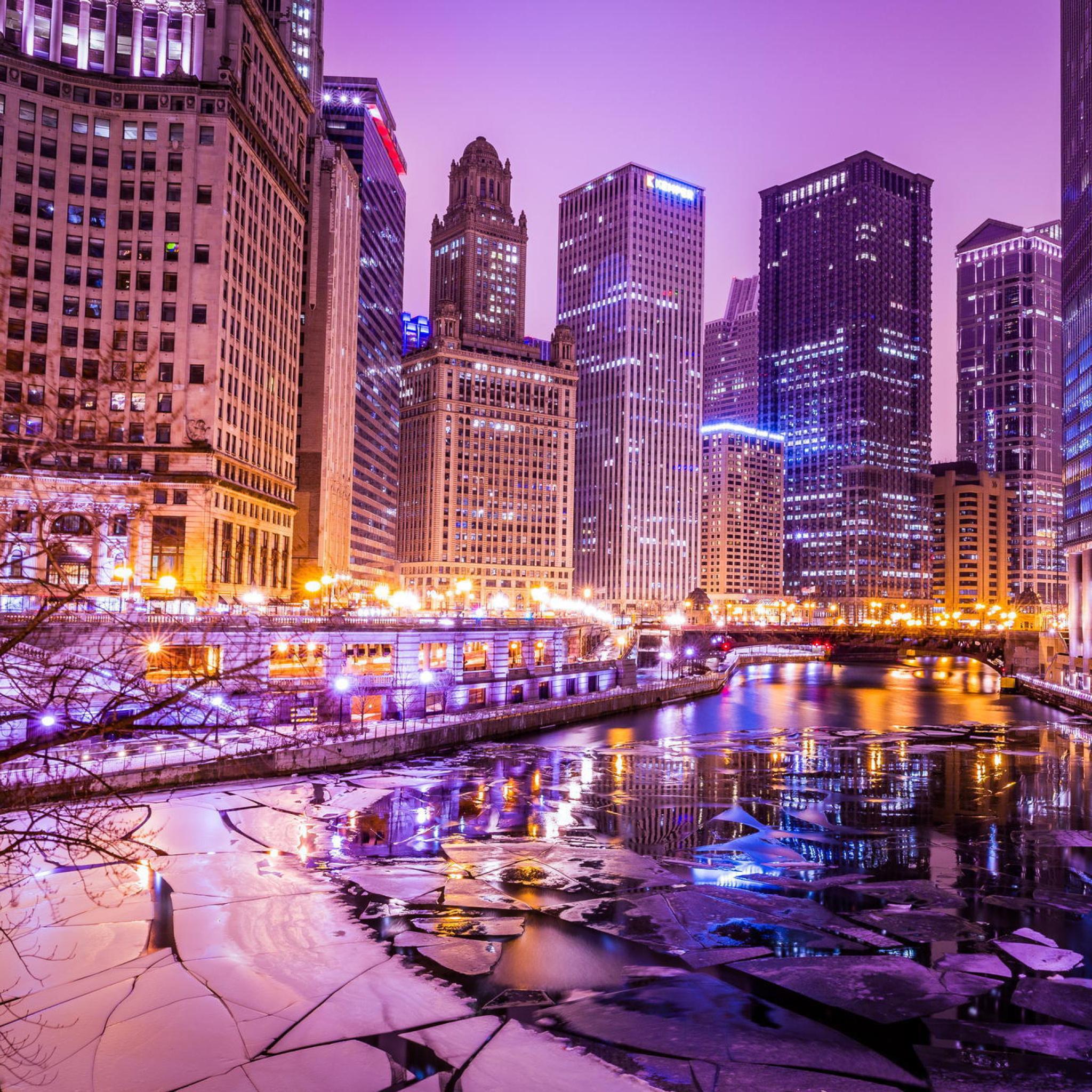 Ночной порт в Чикаго  № 3504490 загрузить