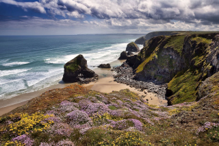 Beach in Cornwall, United Kingdom Wallpaper for Android, iPhone and iPad