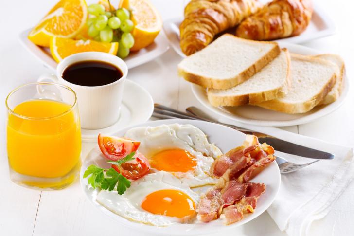 Breakfast with espresso and orange juice wallpaper