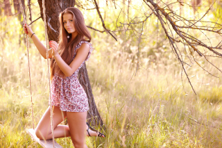 Pretty Girl In Park Wallpaper for Android, iPhone and iPad