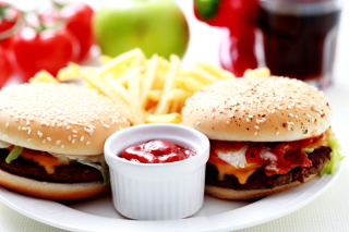 Burgers with Barbecue sauce Picture for Android, iPhone and iPad