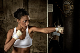 Sporty Girl Boxing Background for Android, iPhone and iPad