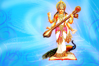 Saraswati Hindu Goddess Background for Android, iPhone and iPad