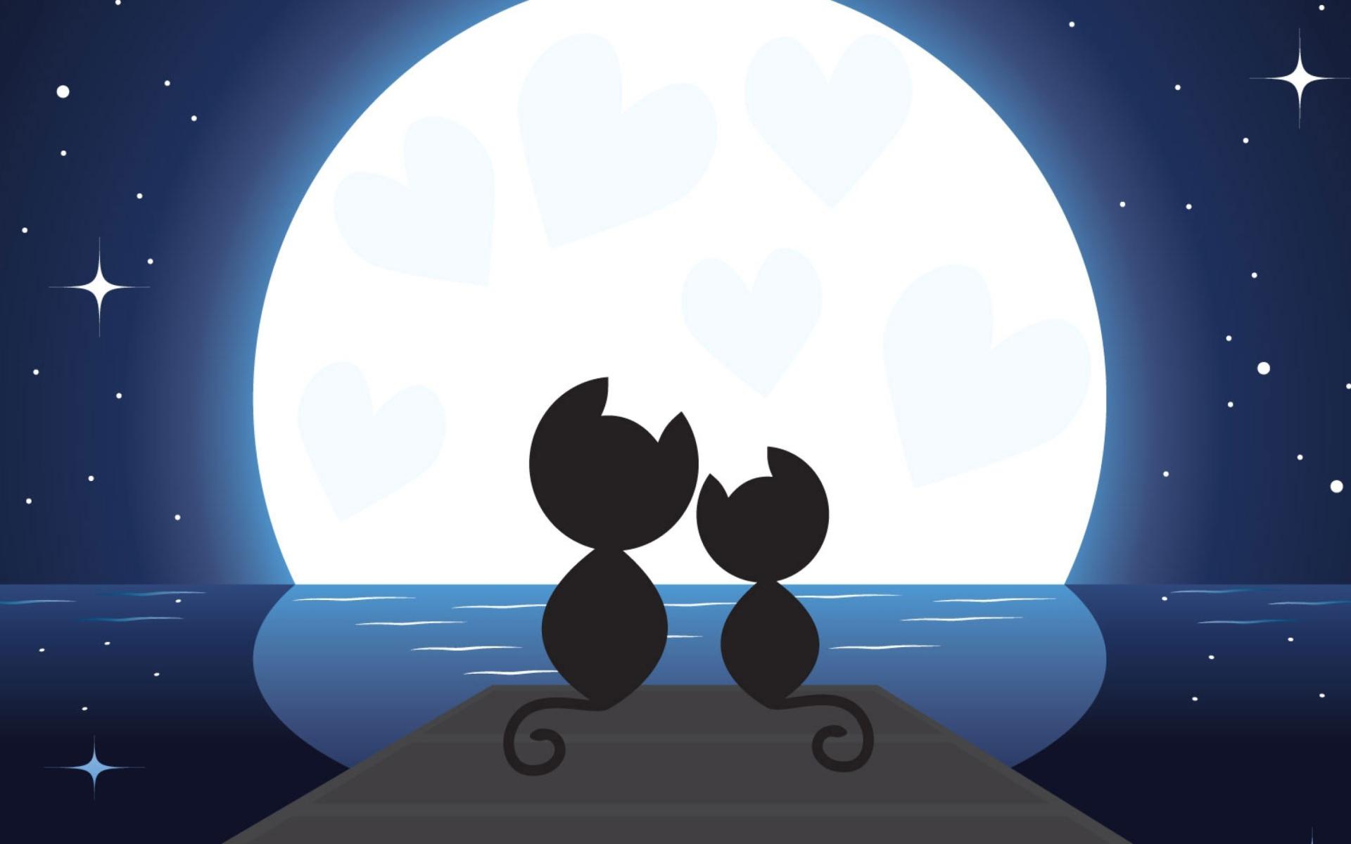 Рисунок котов при луне