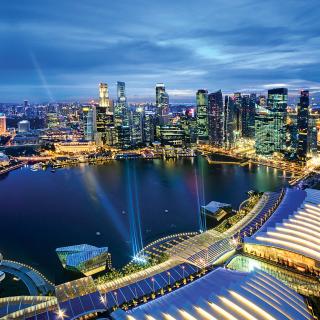 Singapore evening cityscape - Obrázkek zdarma pro iPad 2