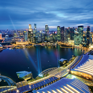 Singapore evening cityscape - Obrázkek zdarma pro 128x128