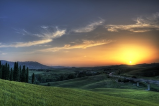 Sunset In Tuscany Wallpaper for Android, iPhone and iPad