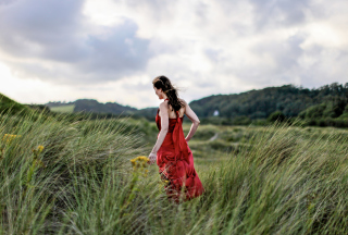 Green Grass Red Dress Picture for Android, iPhone and iPad