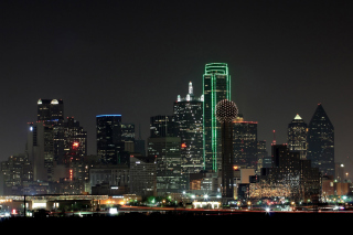 Texas, Dallas Night Skyline sfondi gratuiti per cellulari Android, iPhone, iPad e desktop