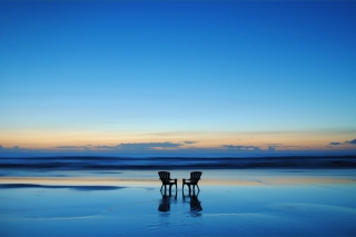 Beach Chairs For Couple At Sunset Picture for Android, iPhone and iPad