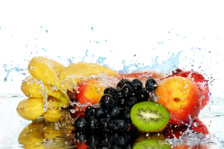 Peaches, bananas and grapes Background for Android, iPhone and iPad