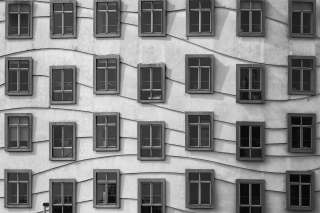 Windows Geometry on Dancing House - Obrázkek zdarma pro 1600x900