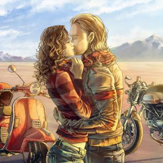 Biker Kiss - Obrázkek zdarma pro 1024x1024
