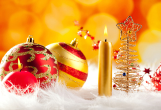 New Year With Christmas Balls Wallpaper for Android, iPhone and iPad