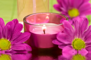 Violet Candle and Flowers Background for Android, iPhone and iPad