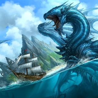 Dragon attacking on ship - Obrázkek zdarma pro 128x128