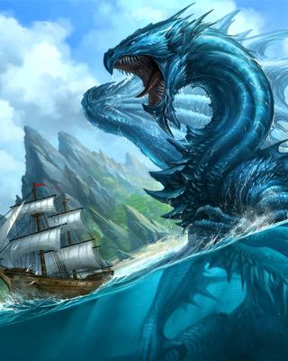 Dragon attacking on ship - Obrázkek zdarma pro iPhone 5
