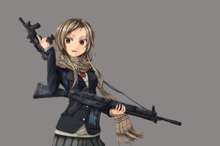 Anime girl with gun Background for Android, iPhone and iPad